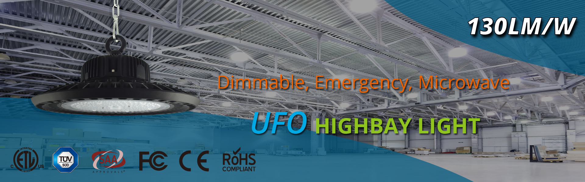 ufo led highbay light cree led meanwell driver 130lm/w