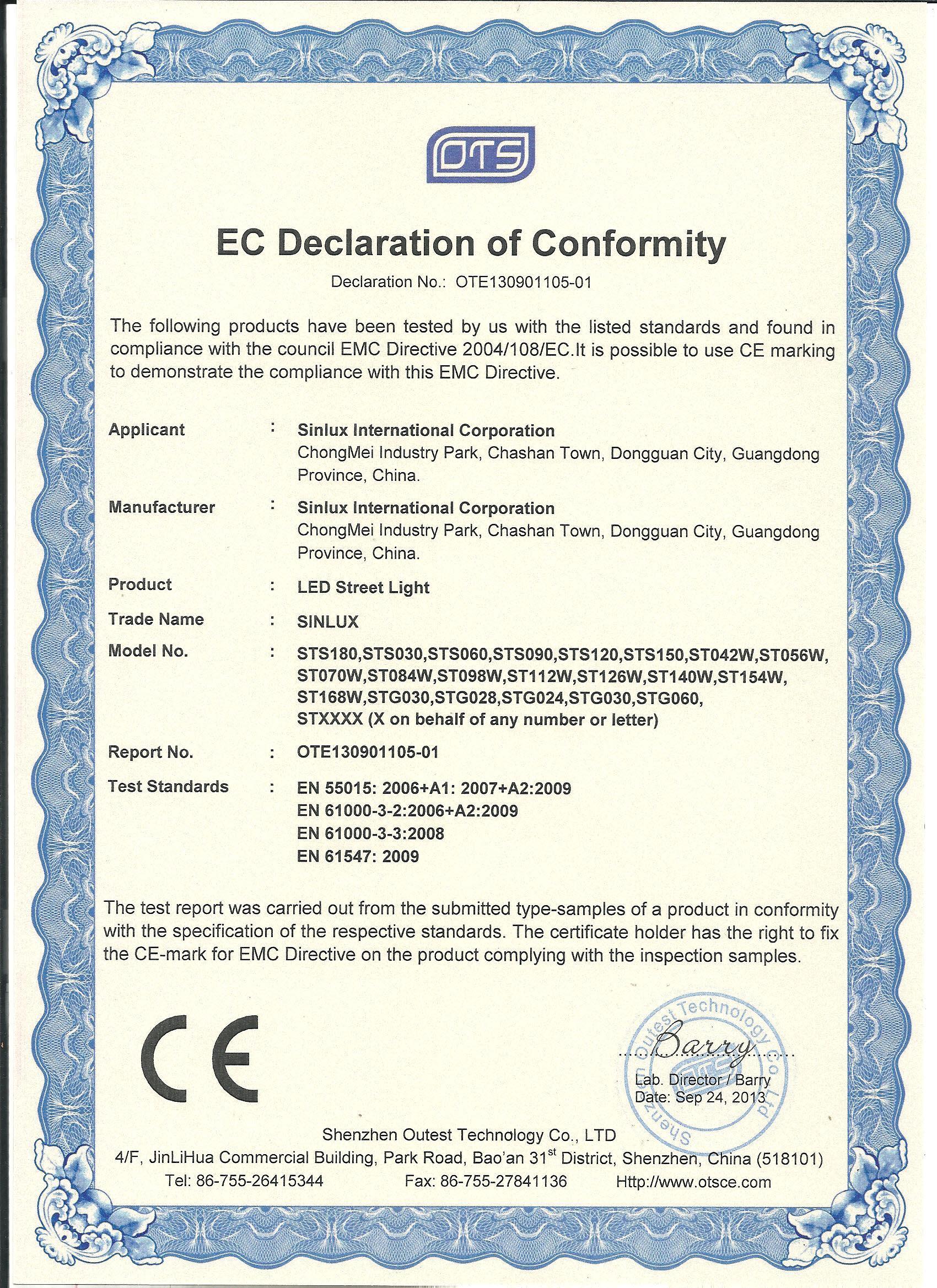 led street light CE-EMC